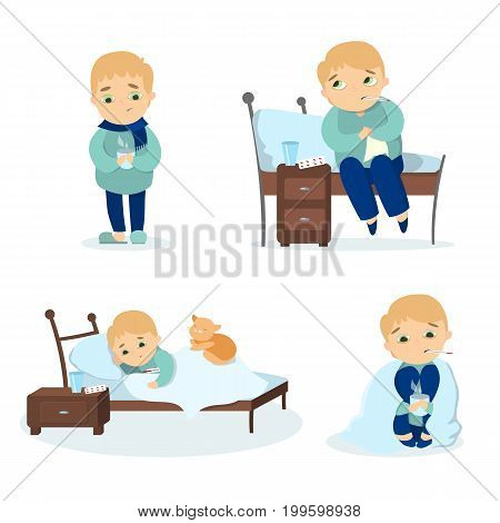 Sick boy set on white background. Poor young man with cold.