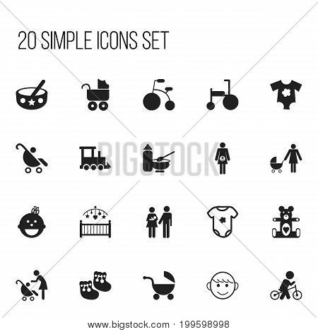 Set Of 20 Editable Baby Icons. Includes Symbols Such As Plush Animal, Pram, Perambulator And More