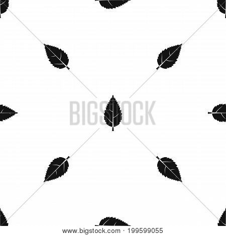 Hornbeam leaf pattern repeat seamless in black color for any design. Vector geometric illustration