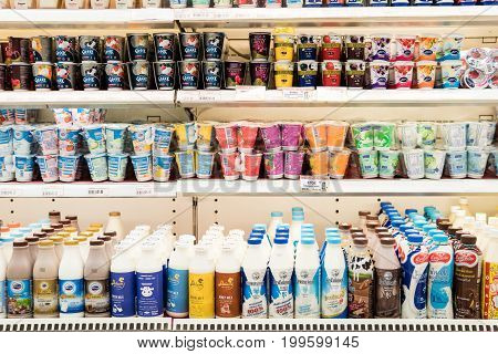 Bangkok, Thailand - August 13, 2017: Shelves of Milk and yogurt in a supermarket.