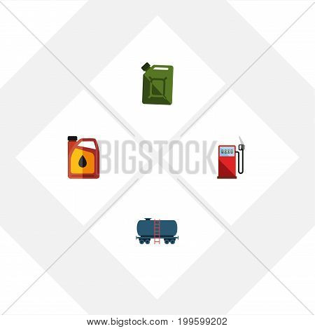 Flat Icon Oil Set Of Petrol, Container, Fuel Canister And Other Vector Objects