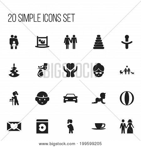 Set Of 20 Editable Family Icons. Includes Symbols Such As Affection Letter, Tower, Family Dynasty And More