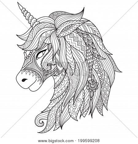 Zendoodle design of unicorn head for t shirt design and adult coloring book page