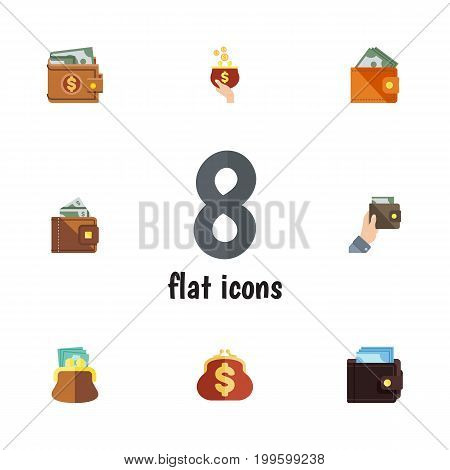 Flat Icon Billfold Set Of Finance, Billfold, Pouch And Other Vector Objects