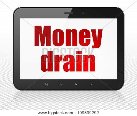 Banking concept: Tablet Pc Computer with red text Money Drain on display, 3D rendering