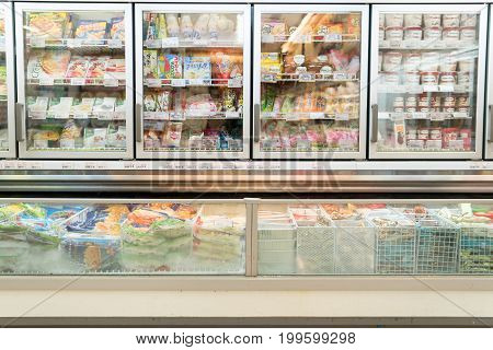 Bangkok, Thailand - August 13, 2017: Frozen food department in supermarket.