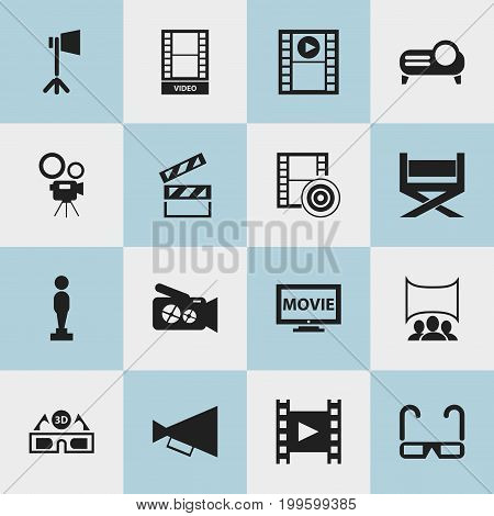 Set Of 16 Editable Cinema Icons. Includes Symbols Such As Show, Play Video, Clapper And More
