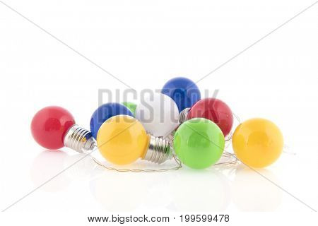 Colorful party lights isolated over white background
