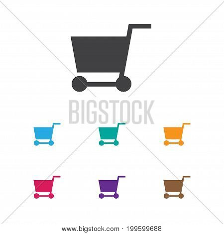Vector Illustration Of Business Symbol On Pushcart Icon