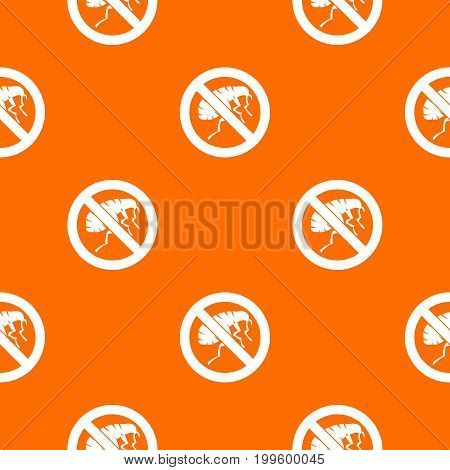 Etching insect pattern repeat seamless in orange color for any design. Vector geometric illustration