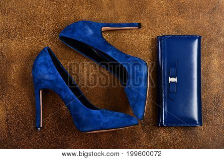 Female Shoes On Old Brown Suede Background. Womens Footwear