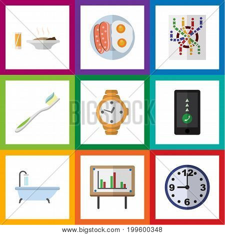 Flat Icon Lifestyle Set Of Tub, Watch, Whiteboard And Other Vector Objects