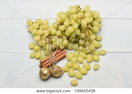White Grapes, Cinnamon And Walnuts As Healthy Lifestyle Concept