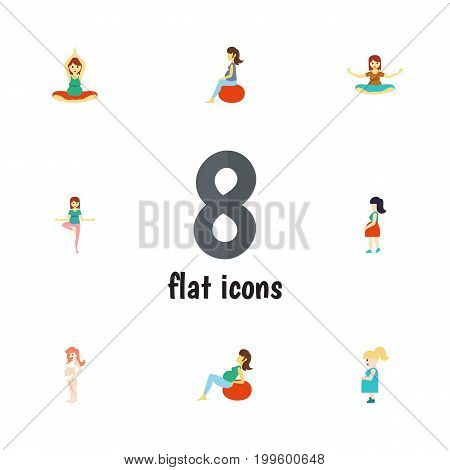 Flat Icon Pregnant Set Of Fitness, Lady, Pregnancy And Other Vector Objects