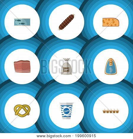 Flat Icon Meal Set Of Cheddar Slice, Tin Tuna, Yogurt And Other Vector Objects