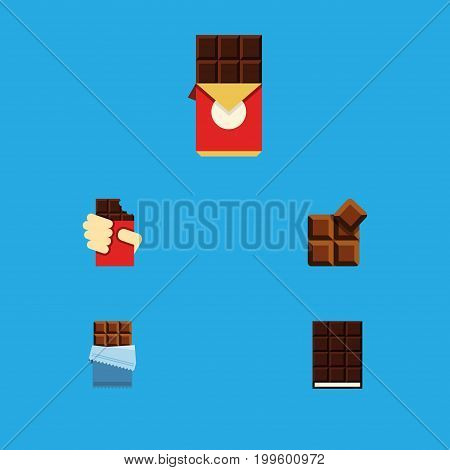 Flat Icon Chocolate Set Of Bitter, Dessert, Cocoa And Other Vector Objects