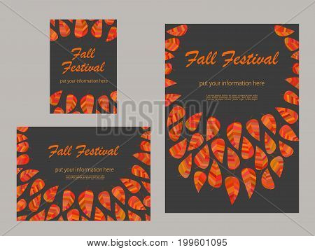 Set of advertising flyers templates for Presentation. Leaflet, Cover Page Design. Autumn Fall Festival poster. Autumnal abstract red yellow leaves. Season event background vector vintage illustration