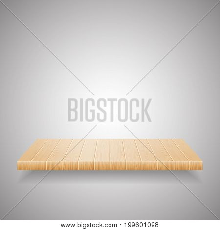 Empty wooden shelf on gradient background. Empty shelf wooden furniture, vector illustration