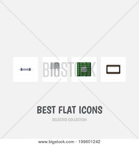 Flat Icon Electronics Set Of Mainframe, Resistor, Unit And Other Vector Objects
