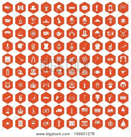 100 top hat icons set in orange hexagon isolated vector illustration