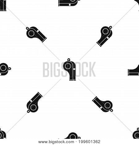 Whistle pattern repeat seamless in black color for any design. Vector geometric illustration