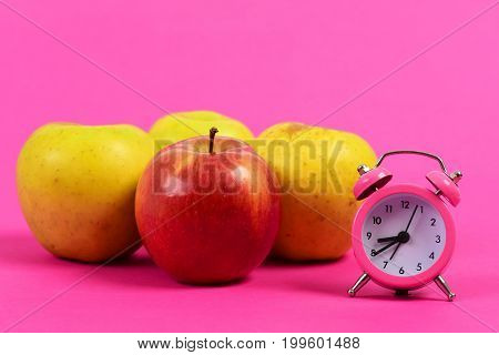 Apple Fruit Set Of Red Color And Pink Alarm Clock
