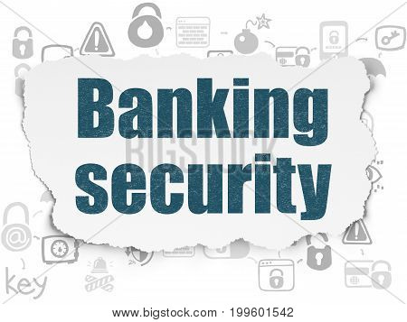 Safety concept: Painted blue text Banking Security on Torn Paper background with Scheme Of Hand Drawn Security Icons