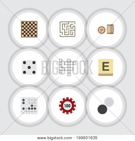 Flat Icon Play Set Of Poker, Chess Table, Labyrinth And Other Vector Objects