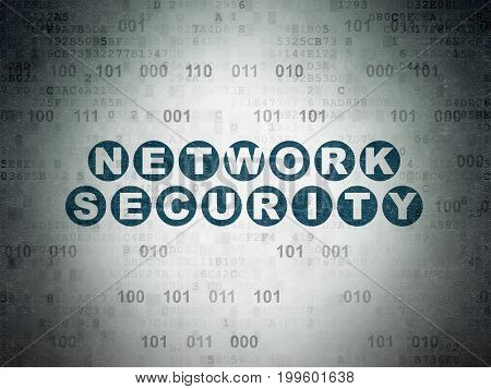 Safety concept: Painted blue text Network Security on Digital Data Paper background with Binary Code