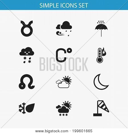 Set Of 12 Editable Weather Icons. Includes Symbols Such As Tempest, Snowy Weather, Frosty And More