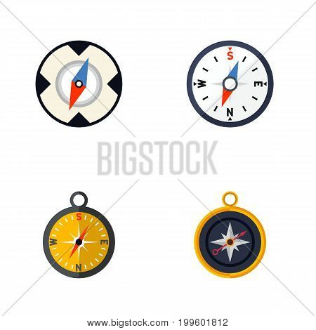 Flat Icon Orientation Set Of Divider, Navigation, Compass And Other Vector Objects