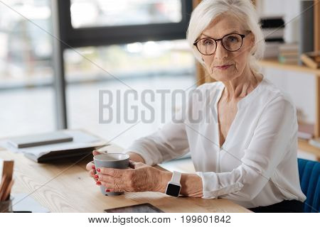 Break from work. Intelligent smart aged woman having tea and resting from work while sitting at the table in her office