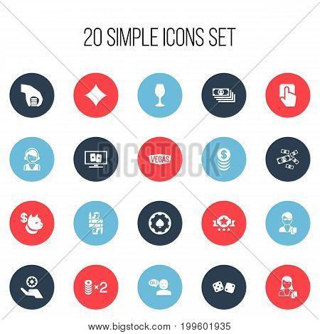 Set Of 20 Editable Business Icons. Includes Symbols Such As Greenback, Gamble, Nevada And More