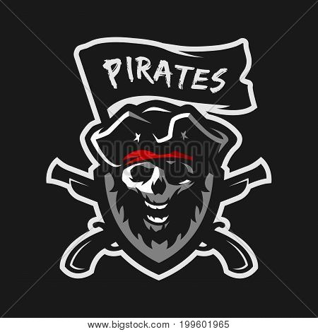 Skull of captain of pirates, flag and weapon. Logo, emblem on a dark background.