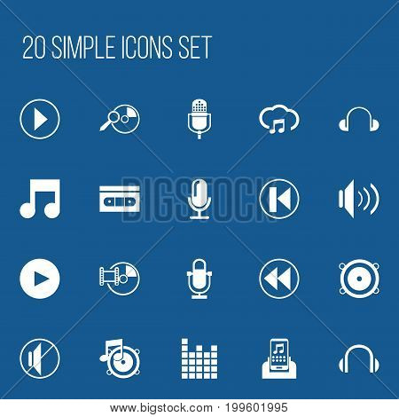 Set Of 20 Editable Melody Icons. Includes Symbols Such As Sound Controlling, Loudspeaker, Start Audio And More