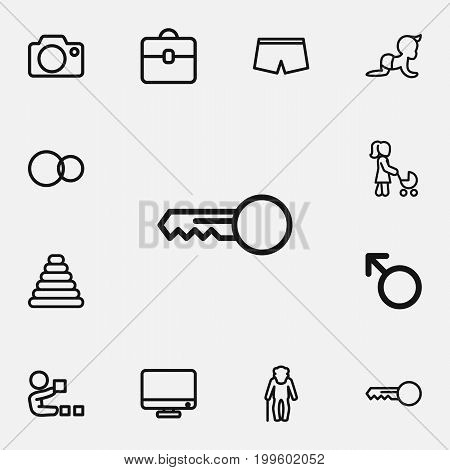 Set Of 12 Editable Family Outline Icons. Includes Symbols Such As Man Symbol, Grandpa, Dad