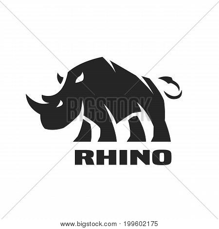 Angry rhino. Monochrome logo, symbol Vector illustration