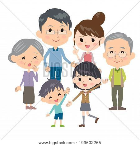 family three generations gather cute design illustration