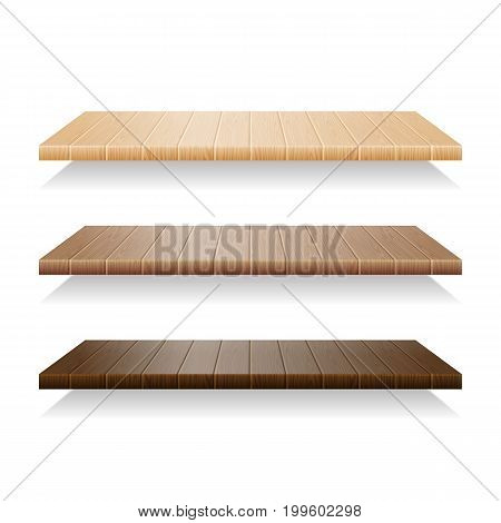 Set of wood shelves on white background. Wooden shelf empty, bookshelf blank realistic