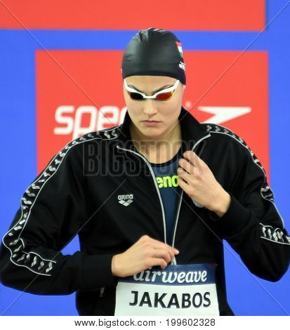 Hong Kong China - Oct 30 2016. Olympian swimmer Zsuzsanna JAKABOS (HUN) at the start in Women's Butterfly 200m Final. FINA Swimming World Cup Finals Victoria Park Swimming Pool.