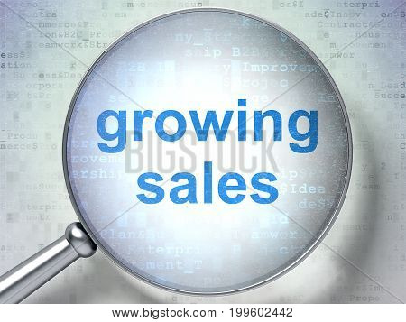 Finance concept: magnifying optical glass with words Growing Sales on digital background, 3D rendering