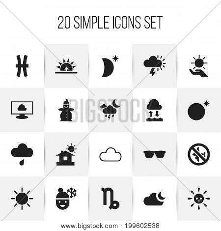 Set Of 20 Editable Air Icons. Includes Symbols Such As Moonlight, Goat, Rainstorm And More