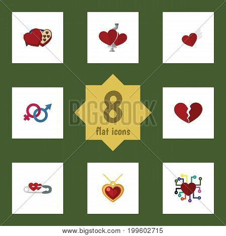 Flat Icon Amour Set Of Divorce, Sexuality Symbol, Closed And Other Vector Objects