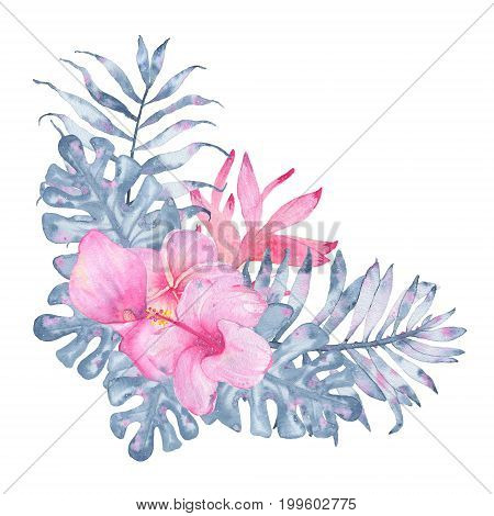 Watercolor hand painted tropical flower bouquet pink calla heliconia hibiscus frangipani and leaves of indigo palm monstera isolated on white background. Floral illustration arrangement. Botanical art
