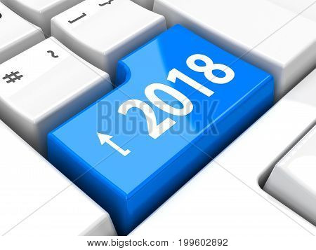 Computer keyboard with 2018 enter key three-dimensional rendering 3D illustration