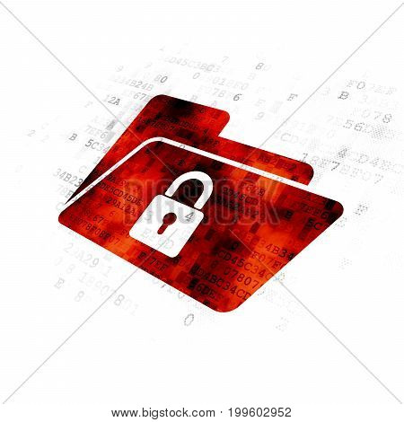 Finance concept: Pixelated red Folder With Lock icon on Digital background