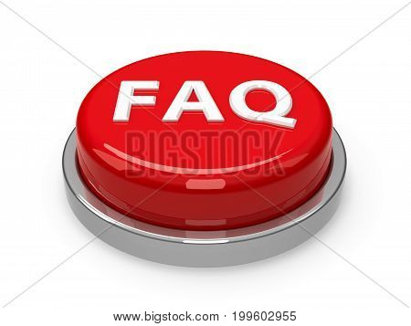 Red FAQ button isolated on white background three-dimensional rendering 3D illustration
