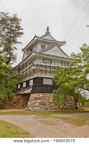 TOYOHASHI JAPAN - MAY 31 2017: Reconstructed Main Keep (donjon) of Yoshida Castle Japan. Castle was founded in 1505 by Makino Kohaku destroyed in a fire in 1873 and reconstructed in 1954
