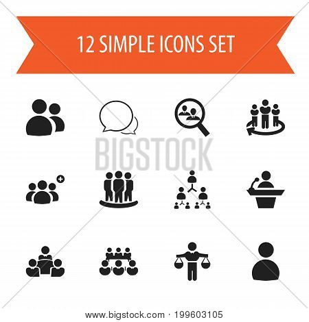 Set Of 12 Editable Business Icons. Includes Symbols Such As Talking Man, Debate, Male And More