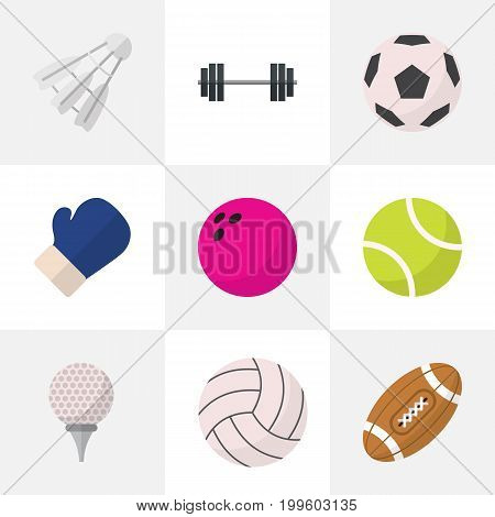 Set Of 9 Editable Active Flat Icons. Includes Symbols Such As Miniball, Sphere, Kegling And More